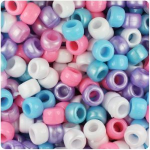 100 x Baby Mix Opaque Barrel Shape Pony Beads 9x6mm Blue /& Pink